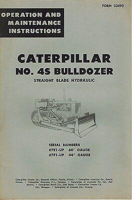 Caterpillar Vintage No. 4s Bulldozer Operation Maintenance Manual