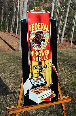 """OLD STYLE BIG 28"""" FEDERAL HI POWER SHOT GUN SHELLS SIGN WITH DOG MADE IN THE USA"""