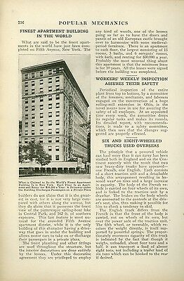 1920 Magazine Article New York City Fifth Avenue Apartments Best in the