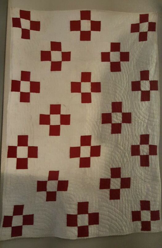 Antique Red and White Handmade Crib Quilt