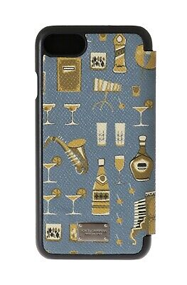 NEW $300 DOLCE & GABBANA Phone Case Blue Leather Gold Drinks Bar Print iPhone7