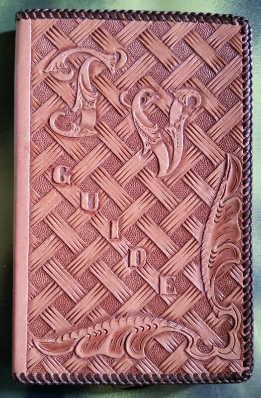 Vintage Hand Tooled  Leather TV Guide Cover Custom Made