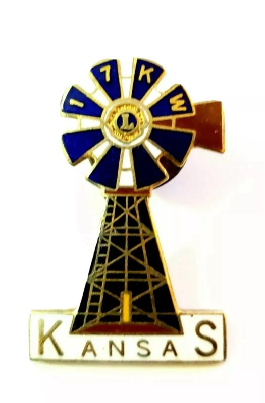Lions Club Pin Kansas 17KW Windmill Vintage Rare