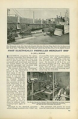 1920 Magazine Article First Electric Navy Merchant Ship The SS Cuba USN