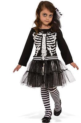 Girls Little Skeleton Costume Spooky Cute Gothic Bones Size Large - Little Girl Skeleton Costume