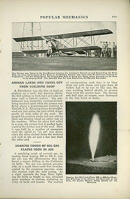 1919 Magazine Article Airplane Lands & Takes Off From Roof Newark New Jersey NJ