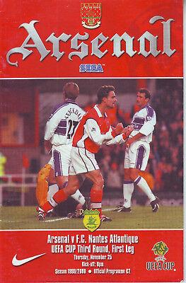 ARSENAL V FC NANTES ATLANTIQUE 25 NOV 1999 VGC VERY SILLY PRICE! QUALITY PROG.