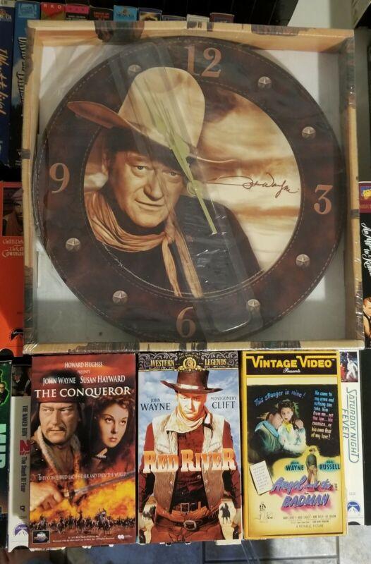 JOHN WAYNE WALL CLOCK/VHS MOVIE LOT
