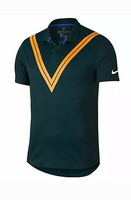 26767e675 Nike Roger Federer RF Court Advantage Tennis MEDIUM Polo Shirt Spruce  939080 303