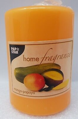 Mango-papaya-duft (Orange Stumpen 60x100mm Kerze Mango Papaya Duft von Papstar Germany)