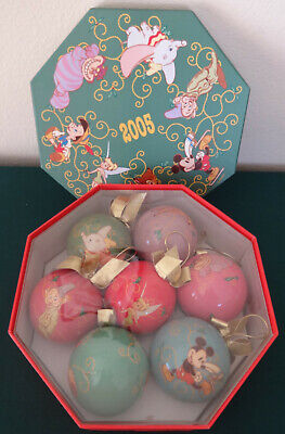 Set of 7 Disney Christmas Ornaments in Octagonal Gift Box, 2005 Tinkerbell Bambi