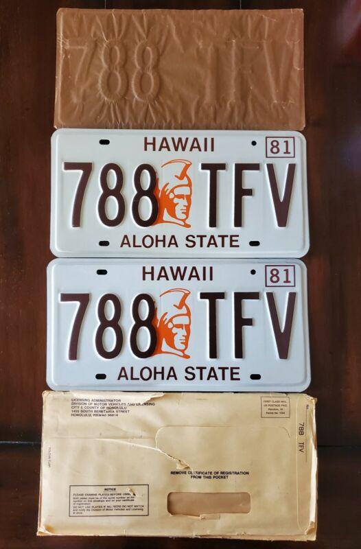 Vintage Hawaii License Plates Pair Mint Condition 1981 King Kamehameha 788 TFV