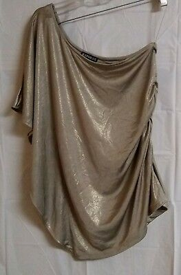 New Express Sparkly Gold Asymmetric Ruffle Flutter Sleeve Shirt Ruched Top XS