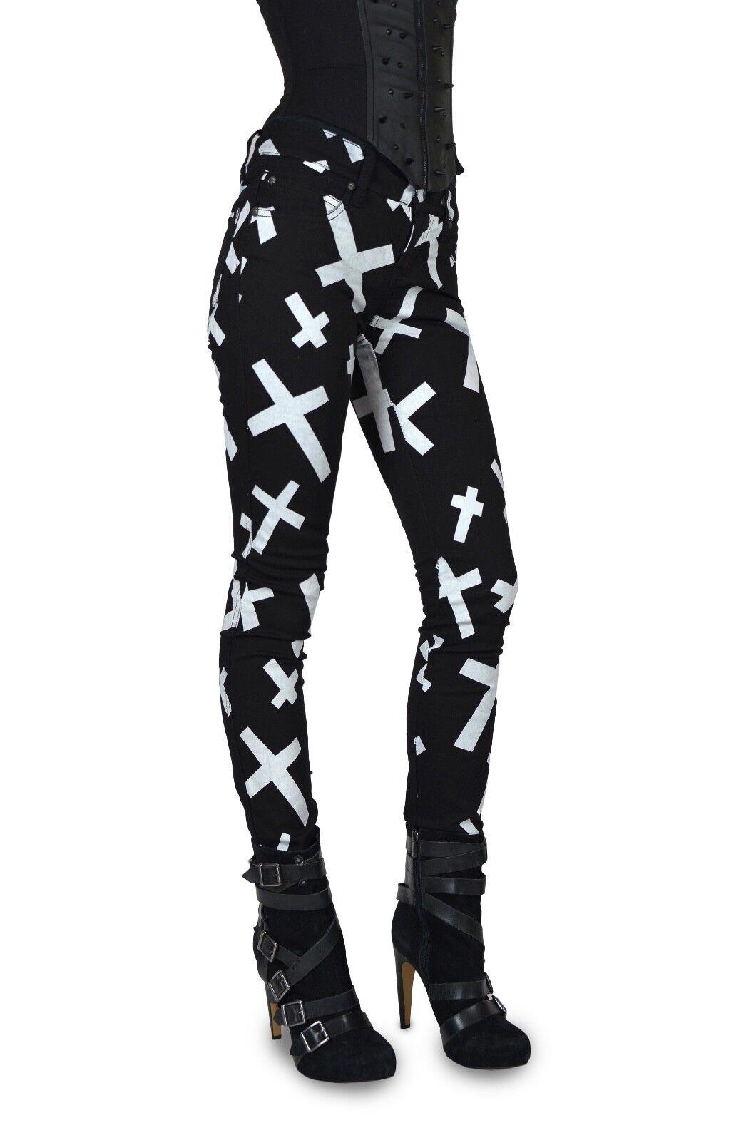 TRIPP EMO GOTH PUNK ROCKER BLACK/WHITE CROSSES JEAN PANTS SKINNY METAL IS6235P Clothing, Shoes & Accessories