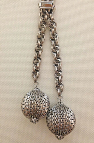 """50s Modernist Chain Ball Lariat Necklace Silver-Tone Metal Spheres 15"""""""