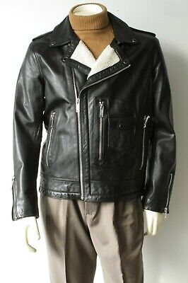 Karl Lagerfeld Genuine Leather Jacket Bikers Motorcycle Moto Jacket Sz Large for sale  Shipping to India