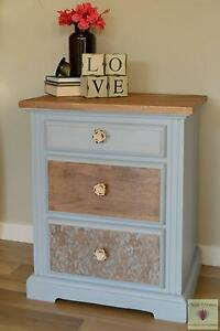 Oversized bedside table with three drawers and lace detail New Beith Logan Area Preview