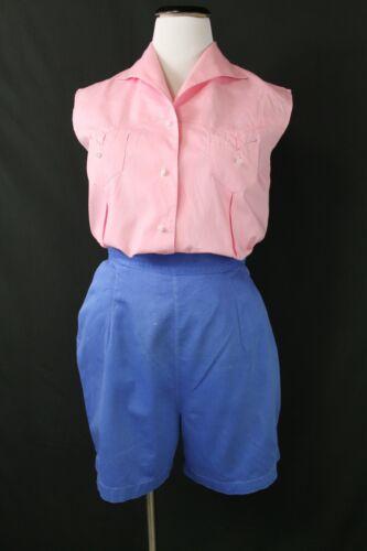 "VTG 1940s 50s Cotton Shorts & Blouse Set Summer B38"" W28"" High Waist Retro"
