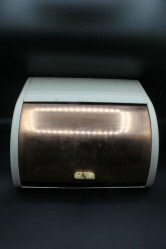 Vintage Retro Kitchen Bread Box Ransburg Metal Roll Top Tin