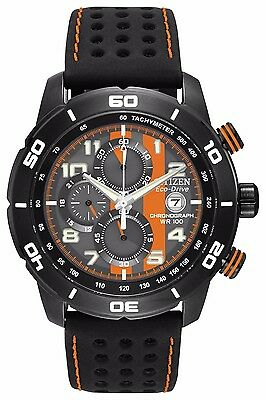 Citizen Eco-Drive Men's CA0467-11H Chronograph Black and Orange Dial Sport Watch
