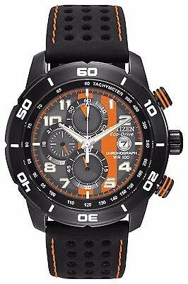 Citizen Eco-Drive Men's CA0467-11H Chronograph Black and Orange Dial Sport Watch