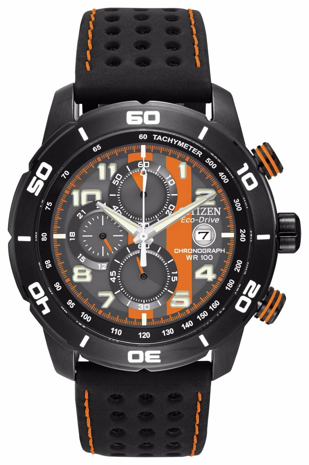 $149.99 - Citizen Eco-Drive Men's CA0467-11H Chronograph Black and Orange Dial Sport Watch