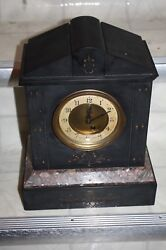 Antique 1920s Black Marble Brass Movement Made in France Mantle Clock, Winds