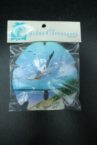 Hand Painted Sand Dollar Ocean City MD. Travel Souvenir Seascape Birds