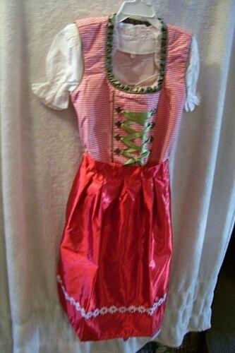 Girls,Kids,US size 10,Germany,German,Trachten,Oktoberfest,Dirndl,3-pc.Reds,Green
