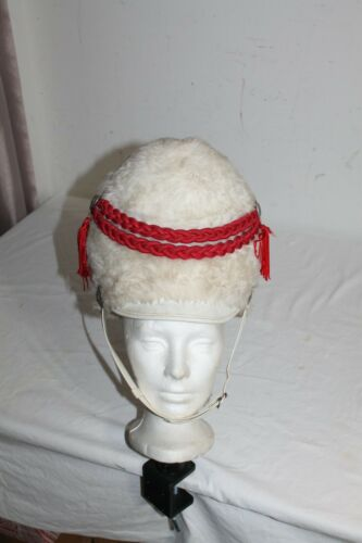 Vintage  White Plush Marching Band Hat With Tassels