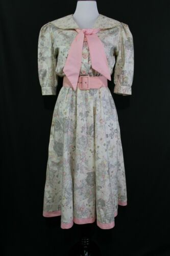 VTG 1980s Dawn Joy Floral Print Day Dress Sz 7/8