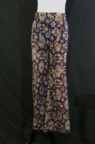 """VTG 1960s Groovy Velvet Print Bell Bottom Pants Boho Psychedelic W 28"""" Ins 29.5"""