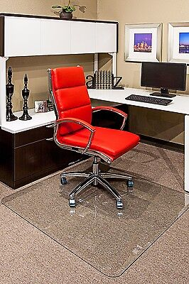 """Clearly Innovative Glass Chair Mats For Home or Office W Beveled Edge 40"""" x 60"""""""