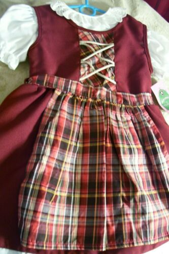 NEW,US 9-12 Mo,Baby,Girls,Kids Germany,Trachten,Dirndl Dress,3-pc.,Burgundy