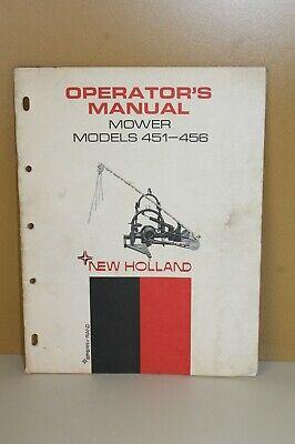 New Holland Operators Manual Mower Model 451-456 42045120 1969