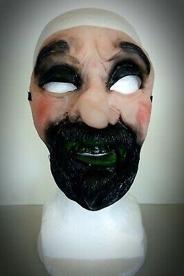 Halloween Mask Guido Goatee Man Funny Scary It The 70's/80's Bank Robber Type