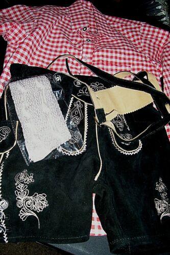 Boy sz 12,Germany,Trachten,SET Ledehosen w.Suspenders,Shirt,Oktoberfest.Black