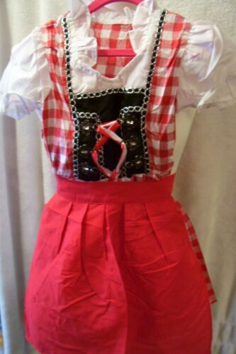 NEW!!Girls,Kids,US sz 7,RED,Germany,Trachten,Oktoberfest,Dirndl Dress,2-pc.