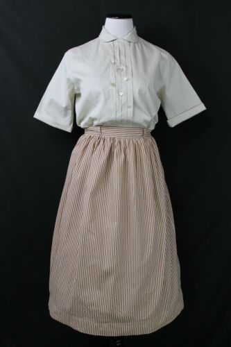 "VTG 1940s 50s Striped Cotton Skirt & Blouse Set B40"" W28"""