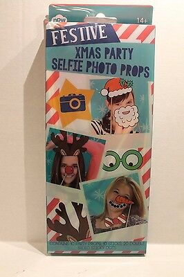 Christmas Party Selfie Photo Props for Holiday Pictures Set of 10 - Photo Props For Christmas