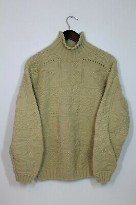 Ralph Lauren Country Polo Hand Knit Turtleneck Cream Textured Small Texture Knit Polo