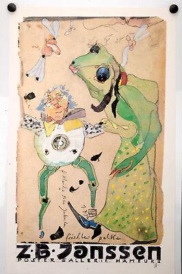 "Plakat, Horst Janssen ""Fröschle Polka"" Signiert Vintage Poster, Affiche Ancies"