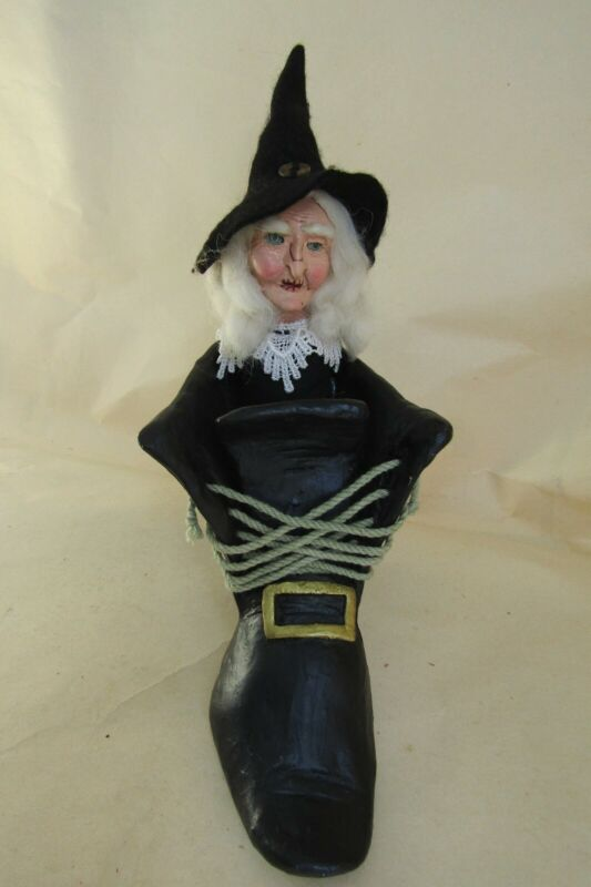 Vintage Halloween Ceramic Witch In Shoe Decoration. Real Laces.