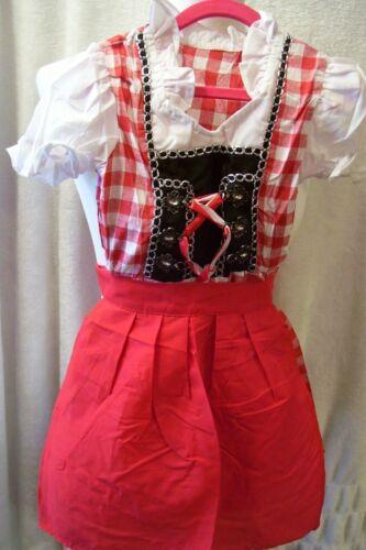 NEW!!Girls,Kids,us sz 6,RED,Germany,Trachten,Oktoberfest,Dirndl Dress,2-pc