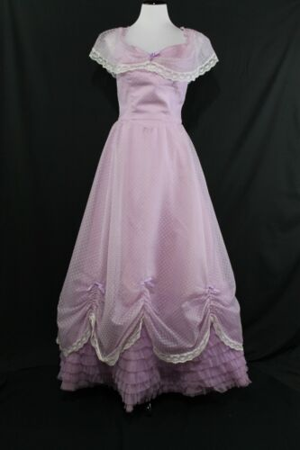 VTG 1970s Prom Bridesmaid Dress Sheer Swiss Dot w/ Tiered Petticoat Maxi Sz 7