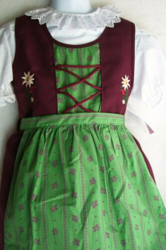 US Sz 2T,Girls,Kids Germany,Trachten,Oktoberfest,Dirndl Dress,3-pc.Purple,Green