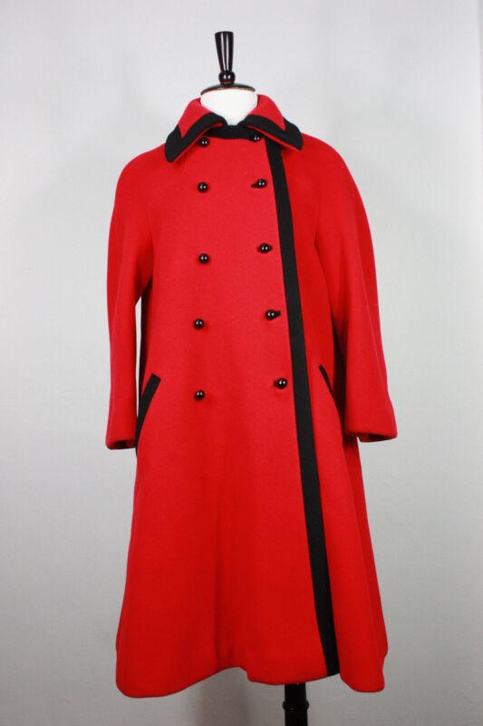 Vintage wool coat M to L jacket A-line red black 50