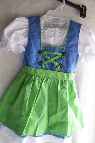 US Sz 1T,Girls,Kids Germany,Trachten,Oktoberfest,Dirndl Dress,3-pc. Blue,Green