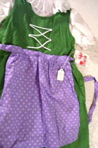 US Sz 6-8,Girls,Kids Germany,Trachten,Oktoberfest,Dirndl Dress,3-pc.Green/Purple
