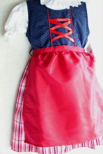 NEW! US Sz 8,Girls,Kids Germany,Trachten,Oktoberfest,Dirndl Dress,3-pc.Blue,Reds